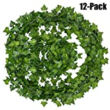Outgeek Artificial Ivy, 12 Strands 84 Ft Silk Fake Ivy Leaves Hanging Vine Leaves Garland for Wedding Party Garden Wall Decoration