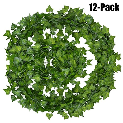 Outgeek Artificial Ivy, 12 Strands 84 Ft Silk Fake Ivy Leaves Hanging Vine Leaves Garland for Wedding Party Garden Wall Decoration by Outgeek