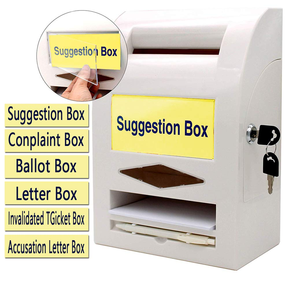 Suggestion Box,Donation Box,Mail Box,Comment Box, Locking and Pen for Wall or Countertop,6 Replaceable Tags by mioni
