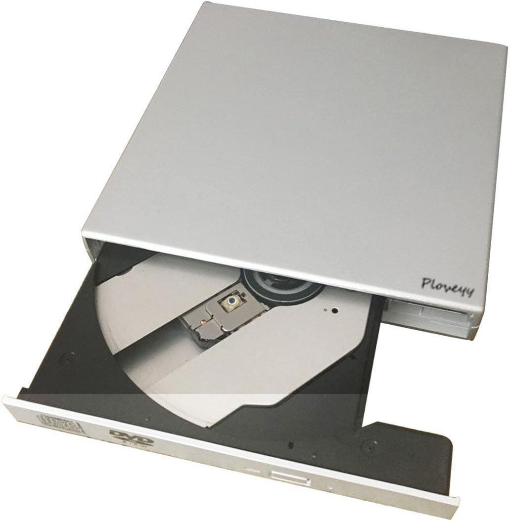 Silver External CD Drive,Ploveyy USB 2.0 aluminum External DVD-Reader with CD-RW Burner Drive Drive For Windows 2000//XP//Vista//Win 7//Win 8//Win 10 Notebook PC Desktop Computer,Plug and Play