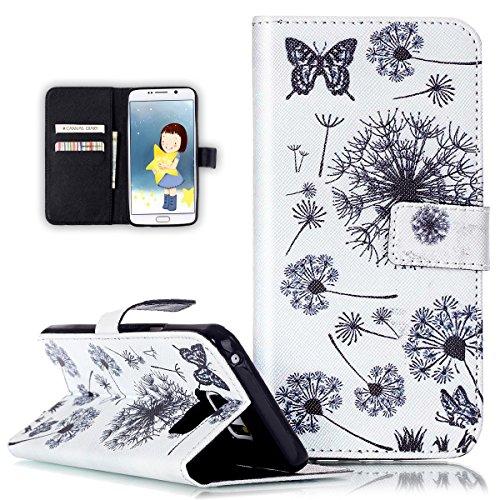 Galaxy Note 5Funda, Galaxy Note 5Funda Billetera, ikasus plumas de diente de león diseño de flores pintadas Patrón de piel sintética Fold Funda Premium–Funda de piel tipo libro con función atril s Butterfly Dandelion
