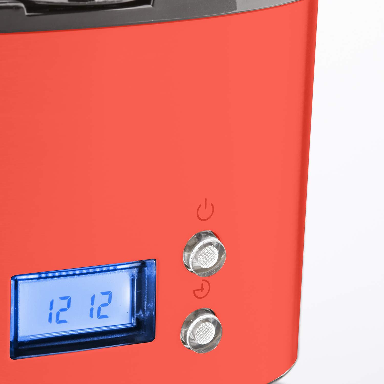 H.Koenig Cafetera de Goteo Programable 1.8 litros pl/ástico 1.5 Litro Acero Inoxidable MG30 Rojo Jarra de Vidrio 12 Tazas 1000 W