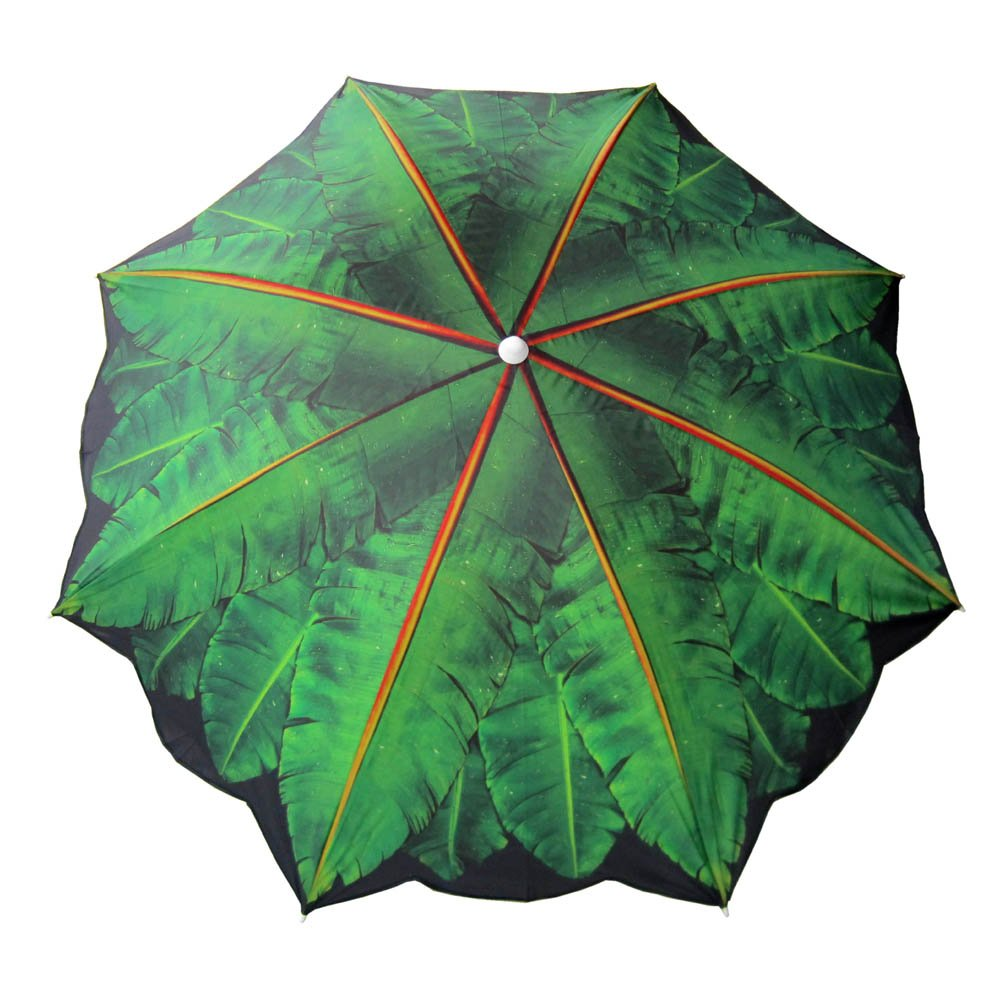 Bayside21 6.5 ft Outdoor Beach Umbrella with Palm Tree Design Telescoping Pole UV Protection 6.5ft, Palm Tree