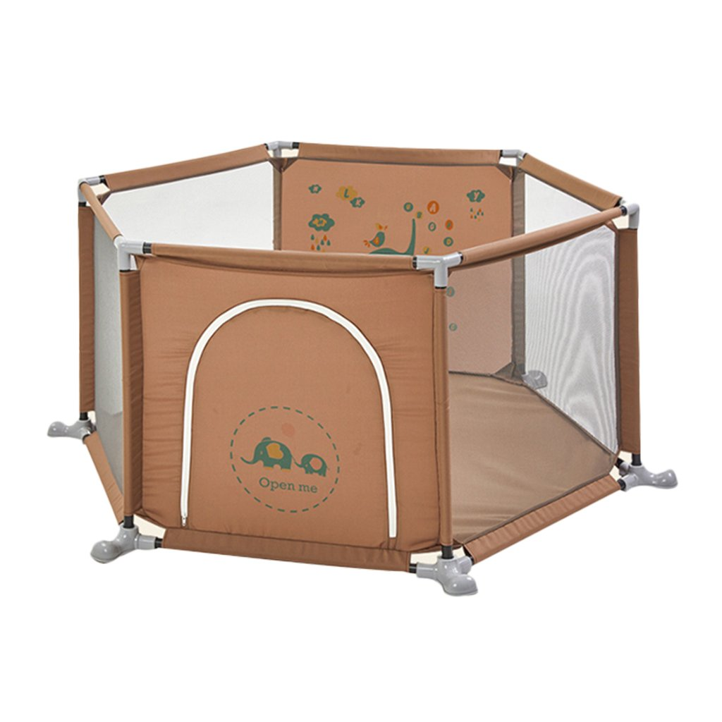 playpens for babies Home children's play fence indoor baby toddler fence Protective Fence Playpens Kids Play Yard (Color : Brown, Size : 160 * 67cm)