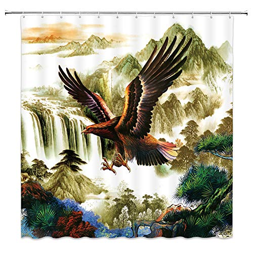 - dachengxing Eagle Shower Curtain Retro Chinese Style Decor Bird Flying Over Mountains Waterfall Landscape Featured Digital Art Print Fabric Bathroom Decor Set with Hooks 70x70 Inch Jasper Green Brown