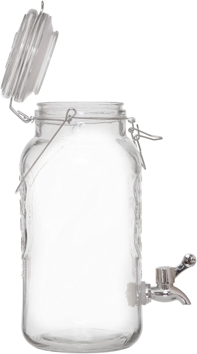 1 Gallon Brilliant Mason Jar Glass Beverage Dispenser with Metal Carrying Handle