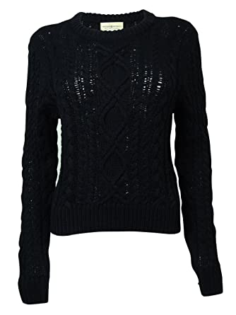 Denim Supply Ralph Lauren Womens Cable Knit Pullover Sweater Black