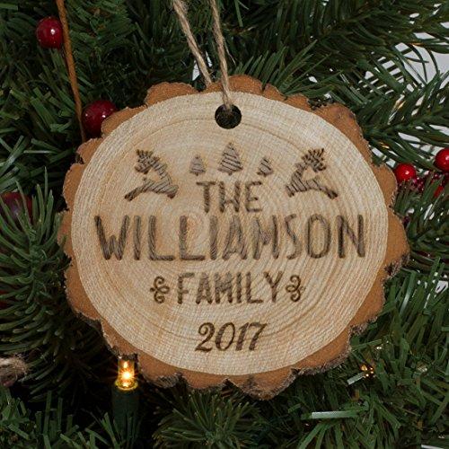 Personalized Family Name Christmas Ornament Engraved Wood - Leaping Reindeer (Reindeer Personalized Ornament Family)