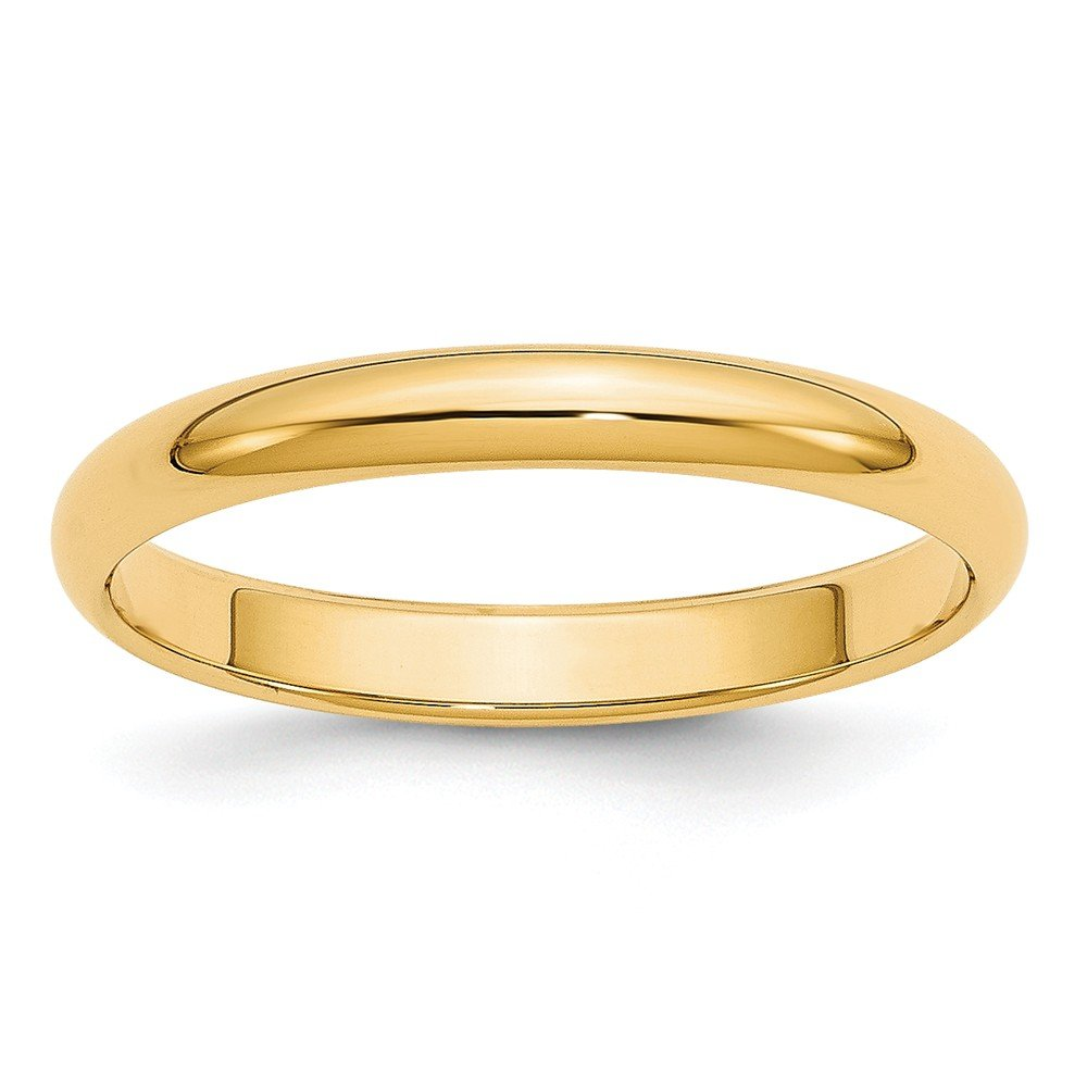 Best Birthday Gift 14k 3mm Half-Round Wedding Band