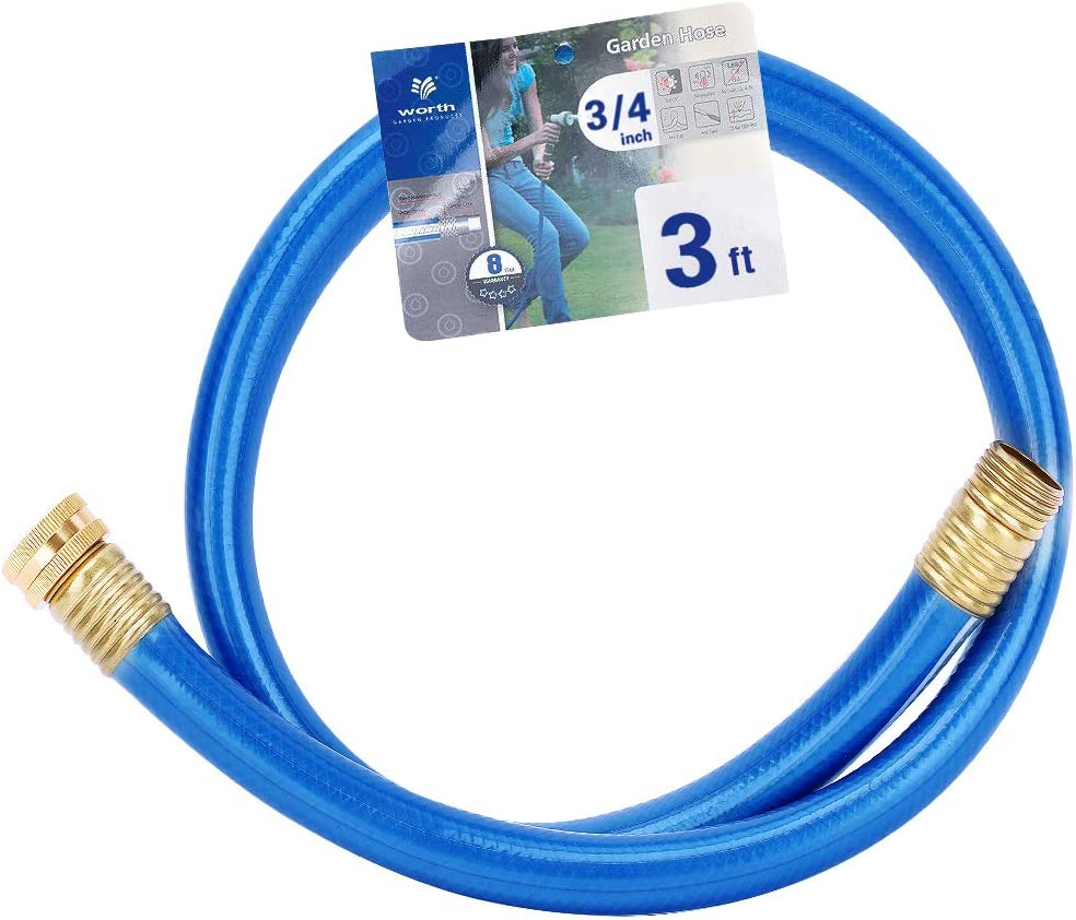 Homes Garden 3/4 in. x 3 ft. Short Garden Hose Blue Lead-Hose Male/Female High Water Pressure with Solid Brass Fittings for Water Softener, Dehumidifier, Vehicle Water Filter 8 Years Warranty