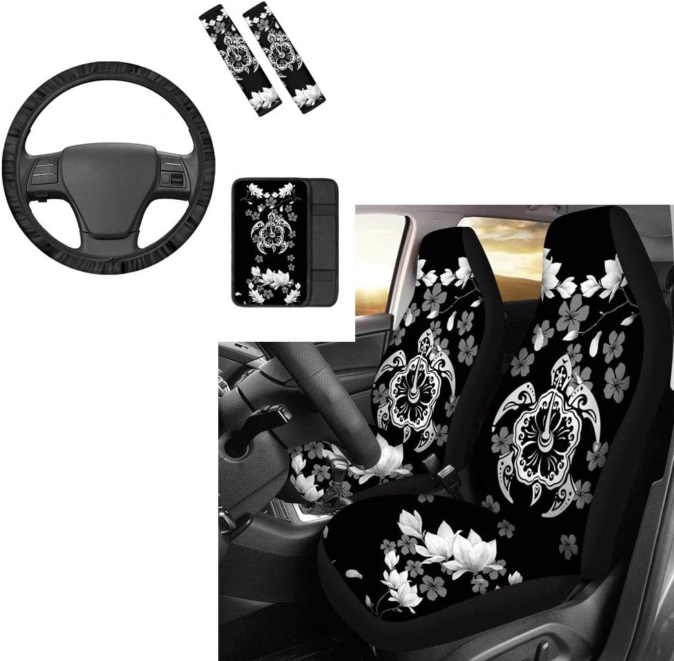 Car Armrest Covers-6 Piece Colorful Paws Printed Fashion Auto Accessories Combo Set Steering Wheel Cover Seat Belt Pad INSTANTARTS Womens Seat Cover
