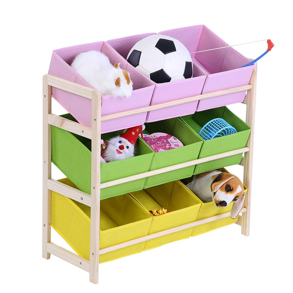 GOTOTOP Children' s Toy Storage Kids' Unit Toy Organizer with 9 Foldable Fabric Storage Containers and 3 Tiers Wooden Toy Storage Rack Stable Base and Anti-toppling Straps 25.59 x 10.83 x 23.43in