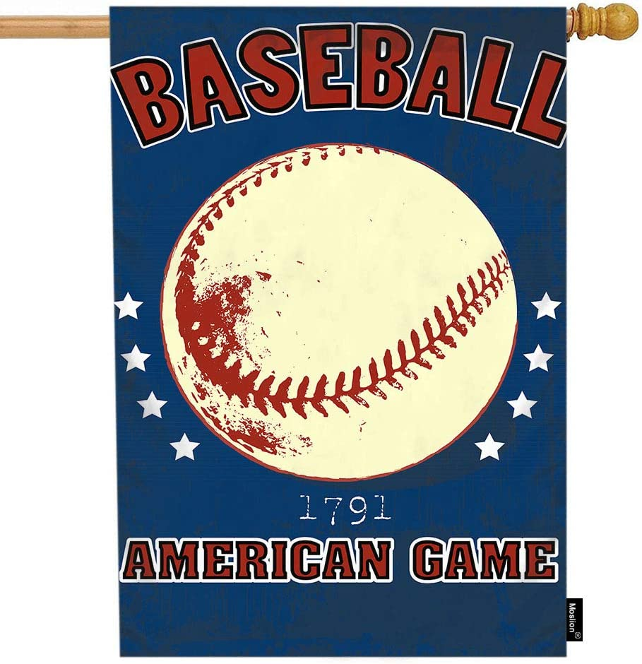 Moslion Baseball House Flag Vintage Ball Game American Baseball with Stars Word Garden Flags 28x40 Inch Double-Sided Banner Welcome Yard Flag Home Outdoor Decor. Lawn Villa
