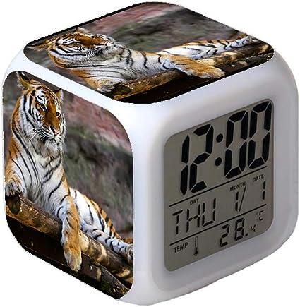 White Tigers Alarm Clock Night Light Travel Table Desk