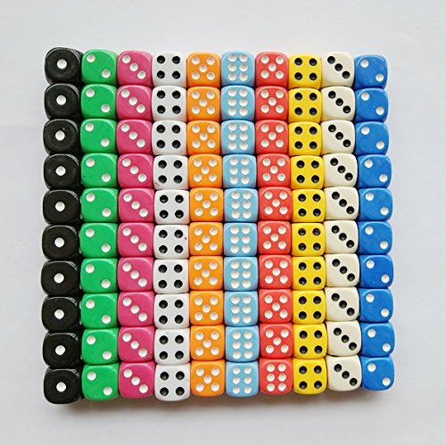 e Dice Set, 10 Colors Round Corner Dice Play Games Like Tenzi, Farkle, Yahtzee, Bunco or Teaching Math (100 Piece Game Set)