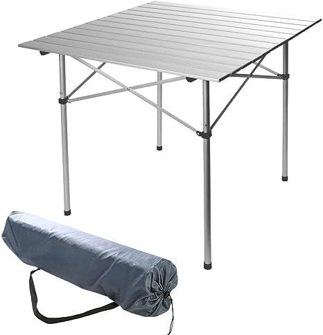 XXL mesa camper Camping picnic plegable enrollable aluminio, 140 x 70 x 70 cm: Amazon.es: Deportes y aire libre