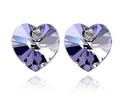 6ae996df1 Amazon.com: Women's 18K White Gold Plated Cubic Zirconia Heart Shape Halo Stud  Earrings: Jewelry