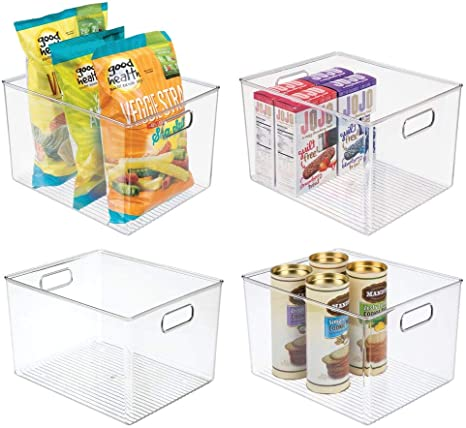 Amazon Com Mdesign Plastic Storage Organizer Container Bins Holders With Handles For Kitchen Pantry Cabinet Fridge Freezer Large For Organizing Snacks Produce Vegetables Pasta Food 4 Pack Clear Kitchen Dining