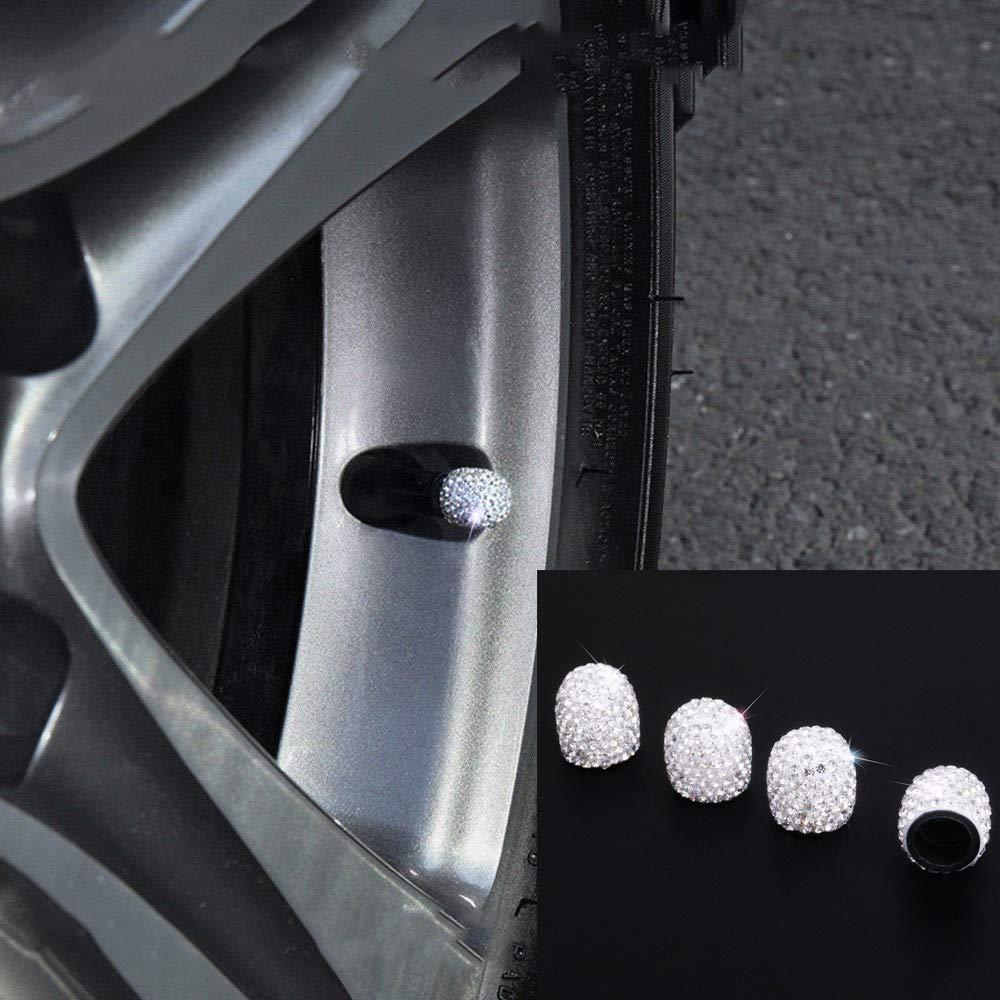 White 4 Pack Handmade Crystal Rhinestone Universal Car Tire Valve Caps Chrome Valve Stem Caps Attractive Dustproof Bling Car Accessories