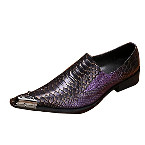 Zapatos de hombre Vistoso Serpentina Cuero Puntera de metal occidental Moda Mocasines y Slip-On