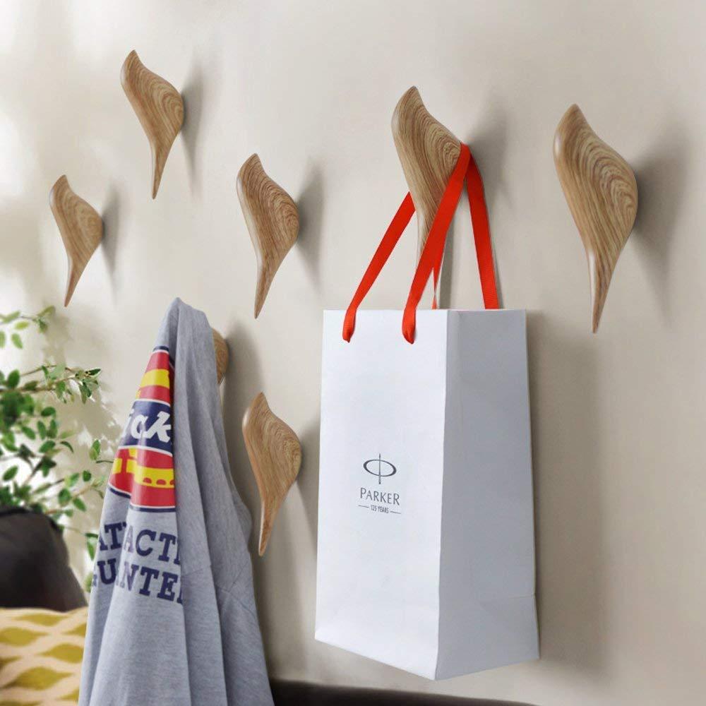 APSOONSELL resina soporte de pared gancho percha soporte en diseño de pájaros para perchero sombrero toalla bolsa (2 unidades) grano de madera
