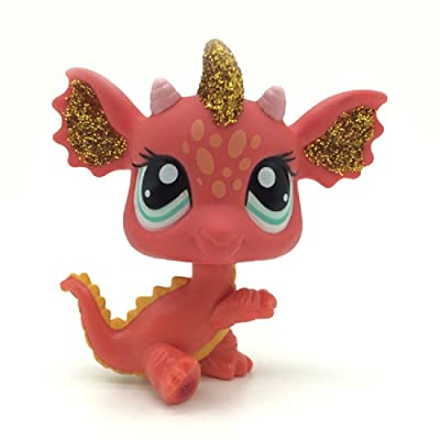 Littlest Pet Shop LPS Orange Dragon Blue Eyes Toys Rare Figures #2484: Toys & Games
