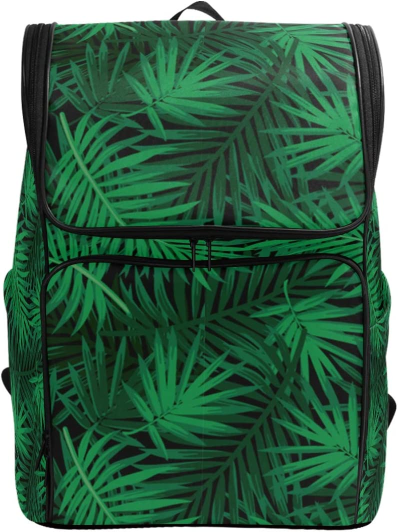 Naanle Stylish Tropical Green Leaves Pattern Casual Daypack,College Student Bookbags Large Travel Multipurpose Bag Padded Laptop Bag Fits 17.3 inch Notebook