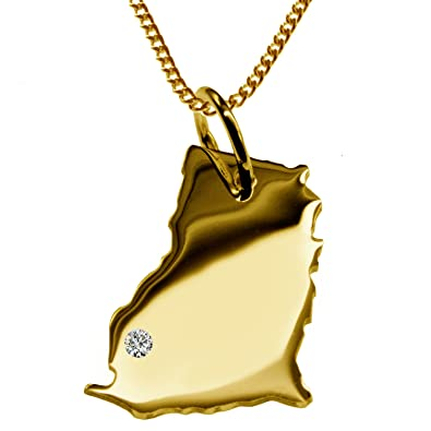 Exclusive Ghana Map Pendant with Diamond on to place Navigation