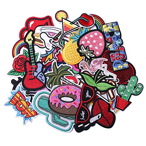 J.CARP 32Pcs Random Assorted Embroidered Iron on Patches, Cute Sewing Applique for Clothes Dress, Assorted for Girls