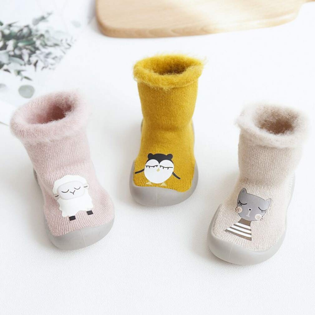 Velvet Thick Xiang Ru Newborn Toddler Baby Anti-slip Slipper Floor Socks Cartoon Middle Tube
