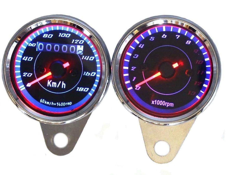 運河クロール次SONONIA DC 12V  オートバイ用 タコメータ タコゲージ  速度 測定0?13,000RPM  LED バックライト