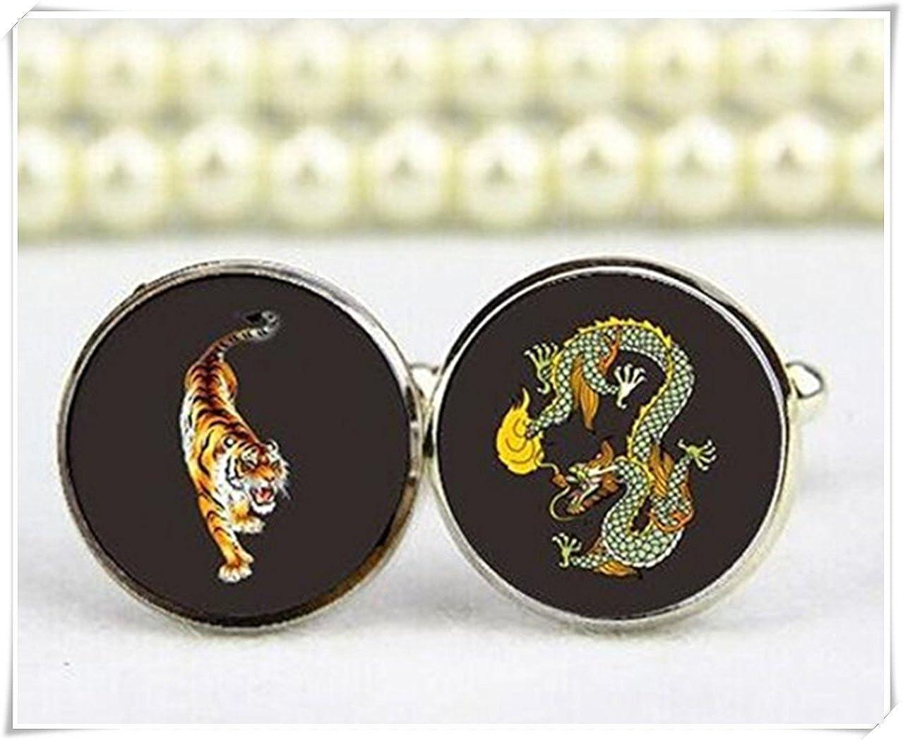 Dragon et tigre Boutons de manchette, personnalisé n'importe quel Texte ou photo Boutons de manchette Black WE34