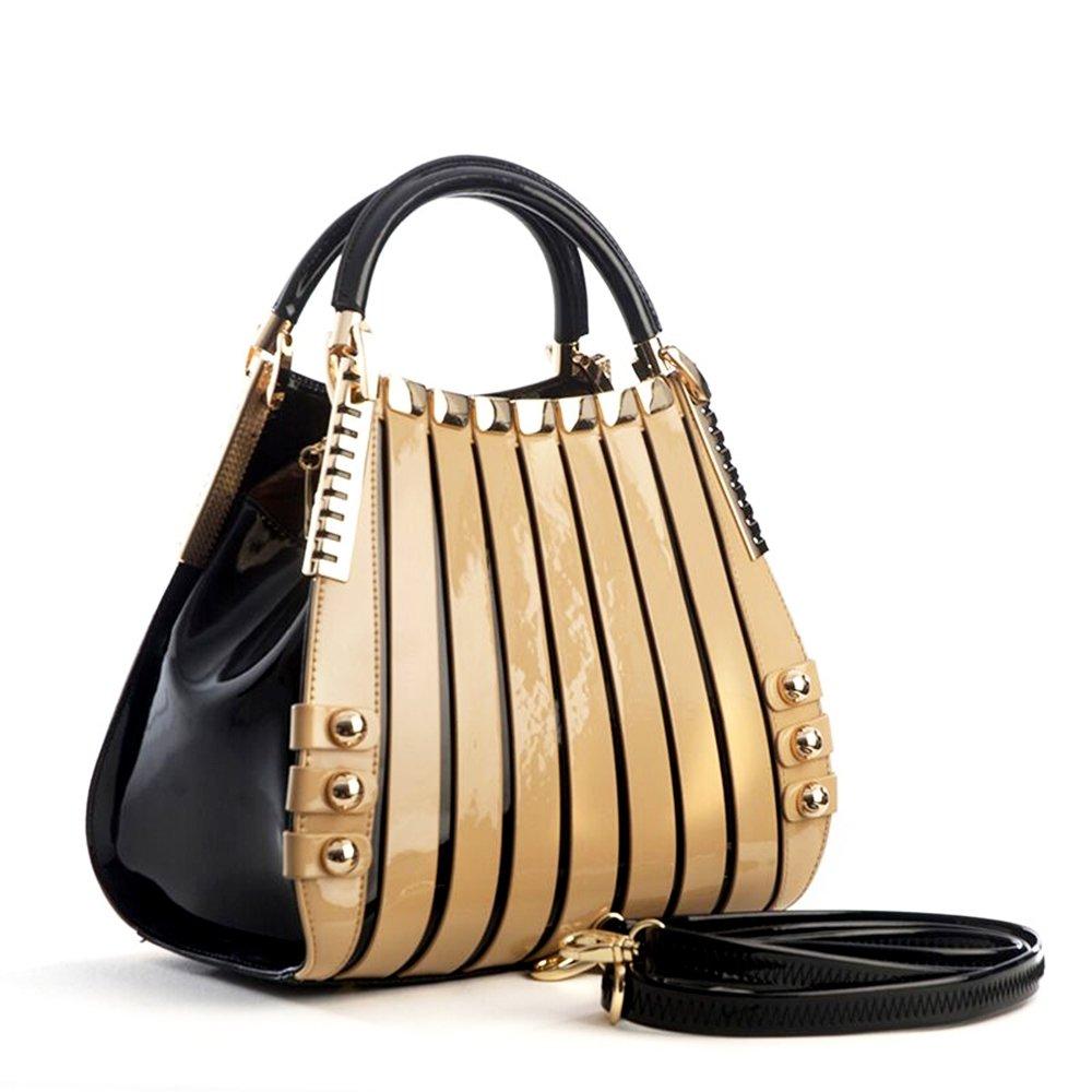 Bravo Beverly Hills Luxury HANDBAG~Irina Signature Series~Cream & Black Leather Handbag~Size Medium by Bravo Handbags Beverly Hills Collection (Image #4)