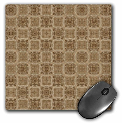 3dRose Jaclinart Wood Feeling Antique Gold and Taupe Abstract Geometric Collection - Muted taupe and cream bordered geometric flowers and squares pattern - MousePad ()