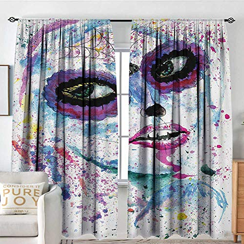 NUOMANAN Curtains for Living Room Girls,Grunge Halloween Lady