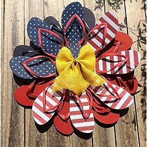 "American Flag Flip Flop Wreath Patriotic wreath 24"" flipflop wreath 90"