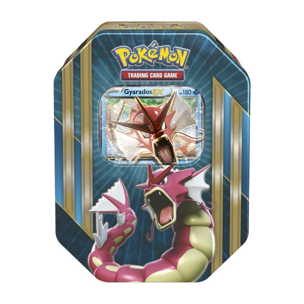 Pokemon TCG: Triple Power Collector's Pokemon Tin - Contains Mewtwo EX, Shiny Gyarados EX OR Machamp EX, 4 Pokemon Booster Packs and Online Code