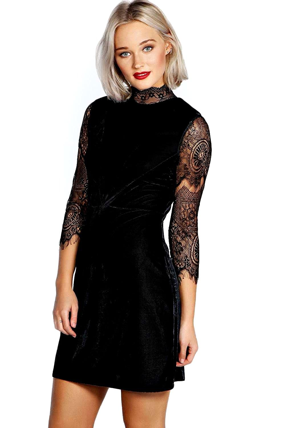 Black Womens Riona High Neck Lace and Velvet Bodycon Dress