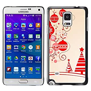 LECELL--Funda protectora / Cubierta / Piel For Samsung Galaxy Note 4 SM-N910 -- Beige Christmas Winter Merry Tree --