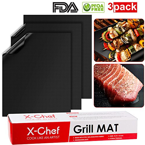 (Grilling Mat, X-Chef Set of 3 Non-Stick BBQ Grill Mat, Heavy Duty and Dishwasher Safe, Work on Electric and Gas Grill, FDA Approved, Black)