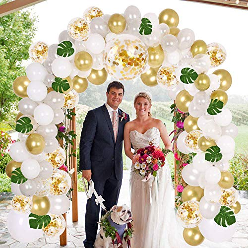Balloon Garland Arch Kit 16Ft Long,95pcs White Gold Confetti Balloons with 10pcs Palm Leaves for Baby Shower Weeding Birthday Bachelorette Party Backdrop Background - 16 Leaf Gold