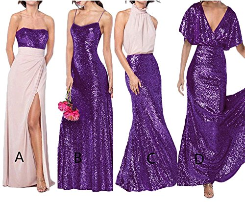 LastBridal Sequins Backless Wedding Dress Prom Dresses Bridesmaid Dresses Long Formal Party Gown Z018 US 4 A-Purple