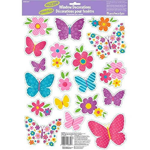 Amscan Spring Glitter Window Party Decorations (3 Pack), Multicolor, 17