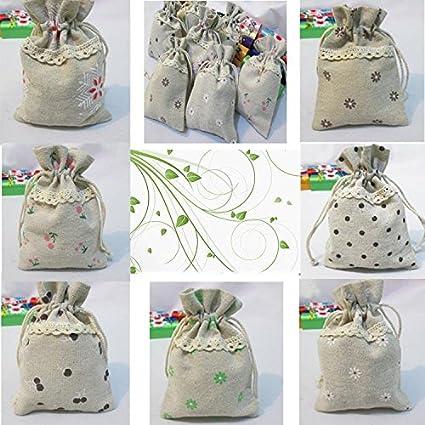 10 bolsas Vintage de yute y encaje, fundas para gominolas ...