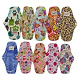 OHBABYKA Bamboo Reusable Sanitary Napkins Pads/Cloth Menstrual Pads for Women,a Mini Bag, Size M (Multi-colored,10pcs)