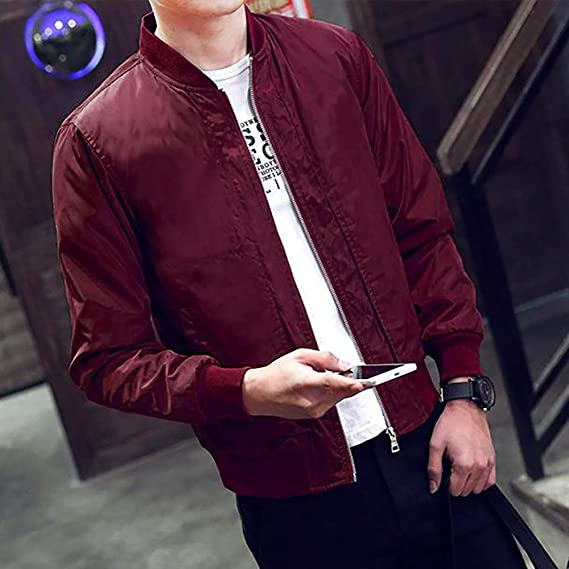 OMINA Bomber Jacket Men Maroon Coats Winter Outwear Slim Fit Mens Long Sleeves Jacket with Pockets Casual Fashion Tops