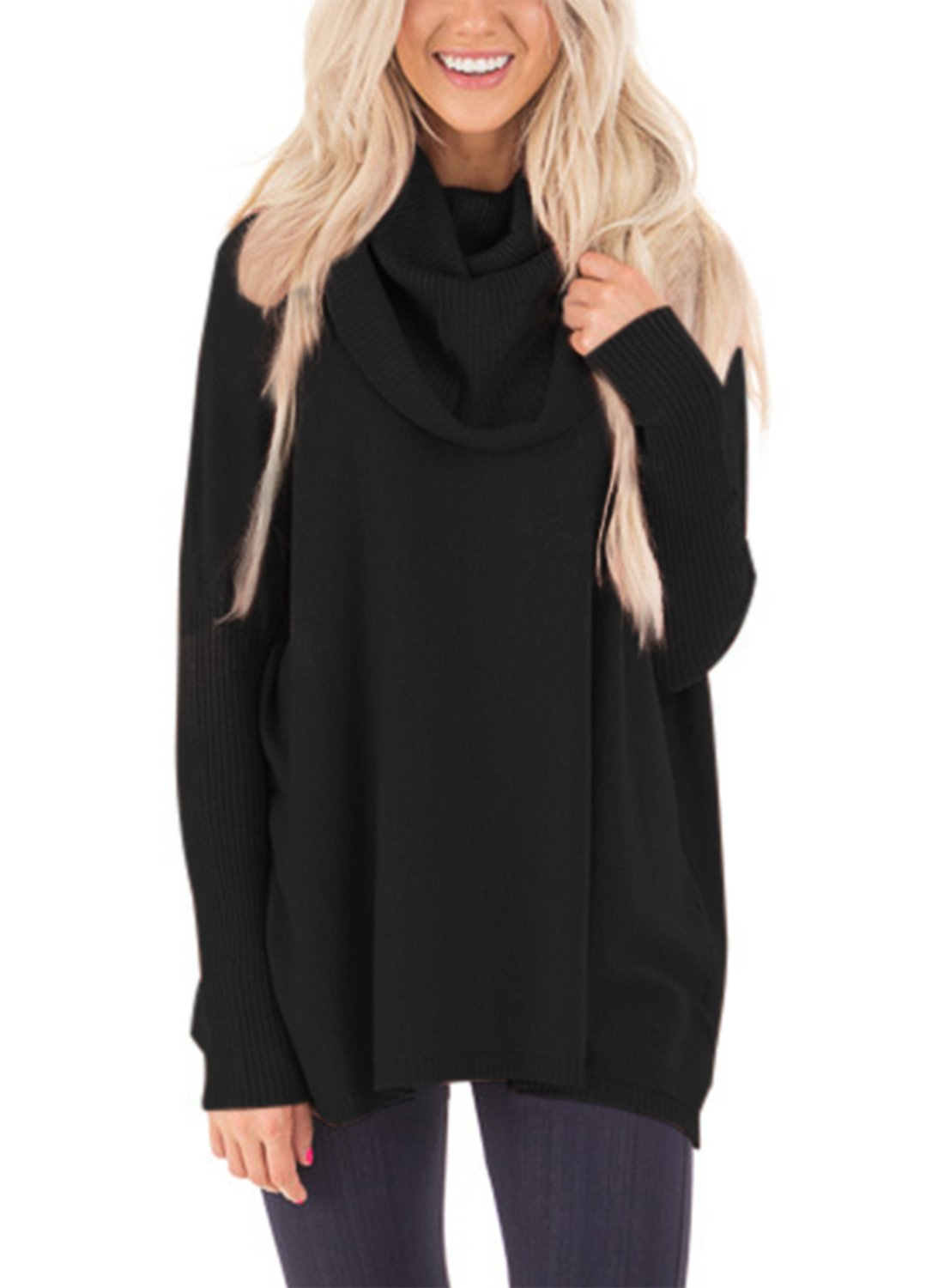 Sidefeel Women Cowl Neck Long Sleeve Pullover Sweater Large Black