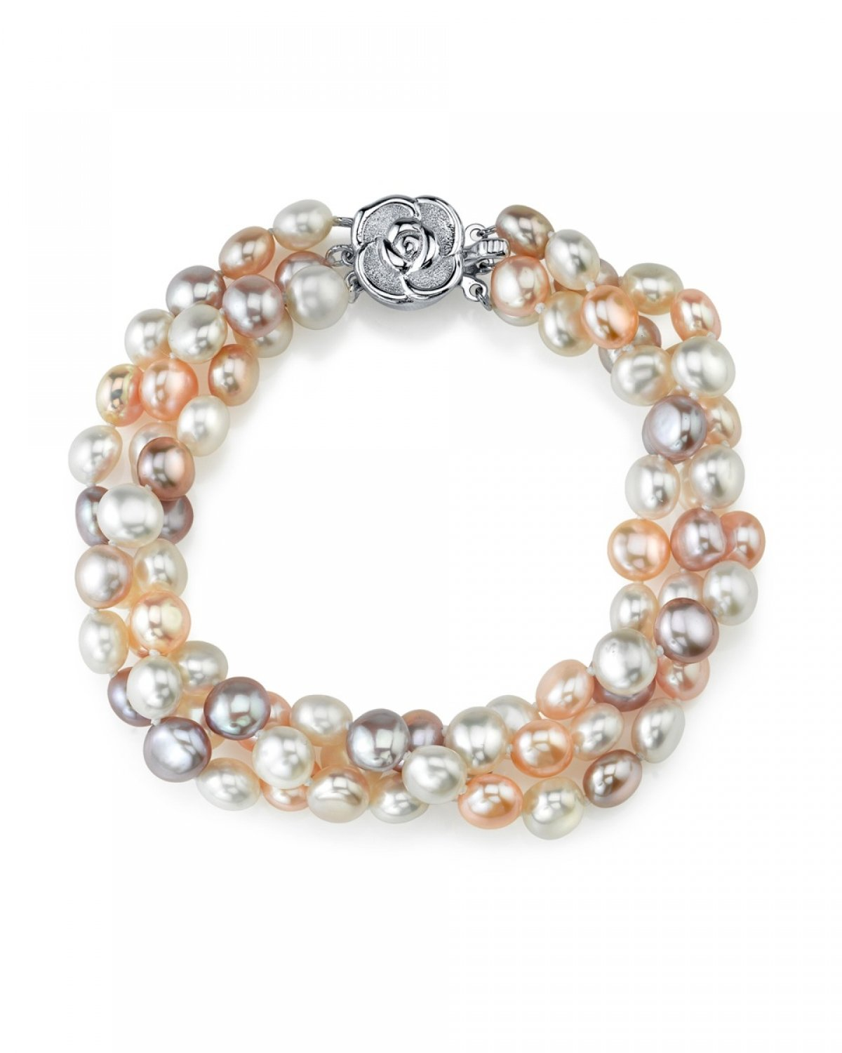 5-6mm Genuine Multicolor Freshwater Cultured Pearl Bracelet for Women
