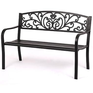 FDW Patio Park Garden Bench Porch Path Chair Outdoor Deck Steel Frame New