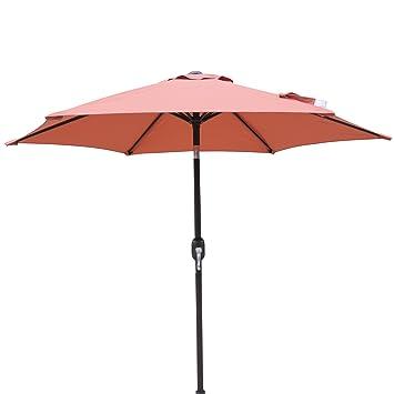 Island Umbrella NU5447TC Hexagon Market Umbrella Patio, Terra Cotta